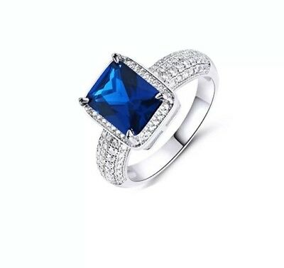 NEW lab Created Sapphire and Cubic Zirconia Emerald cut ring Size 5