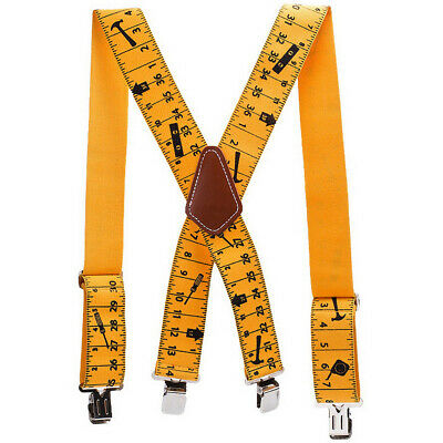 2inch Men Trousers Pants Braces Heavy Duty 50mm Wide Yellow Tape Measurement A3X