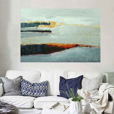 Hand Painted Abstract Oil Painting On Canvas Wall Art Home Decor Framed Seaside