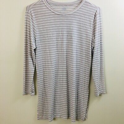 6ca7973381d Old Navy Knit Modal Tunic Top Side Slits Beige White Striped 3/4 Sleeve  Small