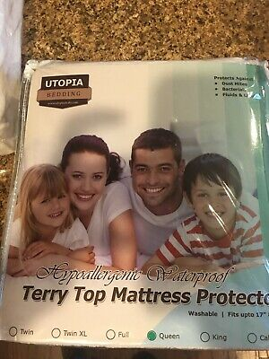 New, Utopia Bedding Hypoallergenic Waterproof Terry Top Mattress Protector Queen
