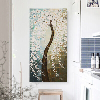 Hand Painted Abstract Art Canvas Oil Painting Home Decor Flower Tree Framed