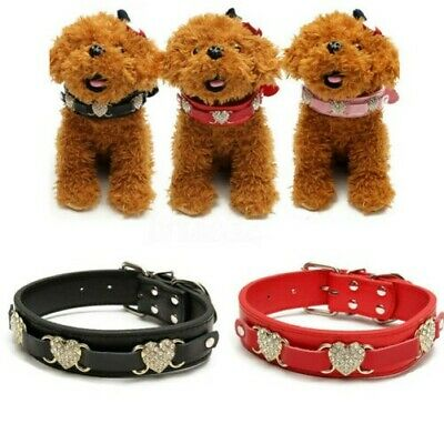 Réglable Bling Strass PU Chiot Chien Colliers Animal de Compagnie Boucle Taille