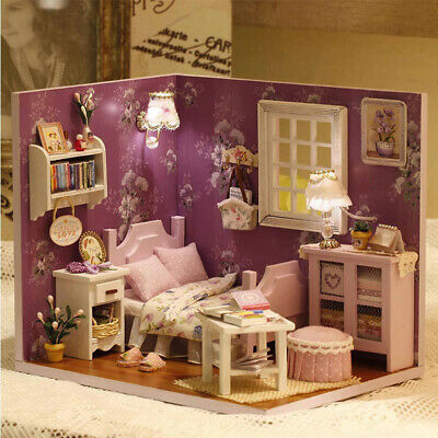 Kits DIY Wood Dollhouse Sofa Miniature With LED+Furniture+cover Doll house Room