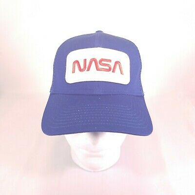 reputable site 00961 3bdc6 NASA Logo Embroidered Snapback Patched Mesh Trucker Cap Hat Blue Space H2