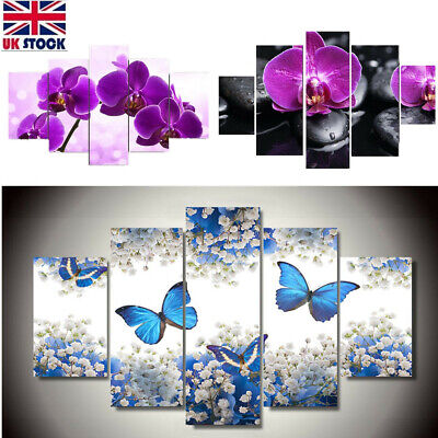 5PCS Flowers Modern Abstract Art Canvas Painting Wall Home Decor Framed Hanging