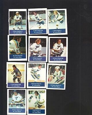1974 Loblaws-Super Value Lot Of 11 St. Louis Blues  Stamps