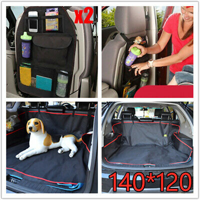 Car Rear Back Seat Cover Pet Dog Protector Boot Mat & Seat Back Hanging Pockets