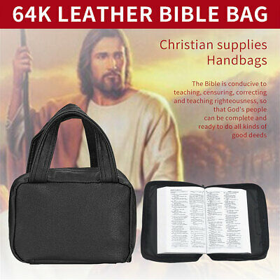 Bible Cover Zippered Holy Book Tote Bag Religious Portable Carry Case Leather US