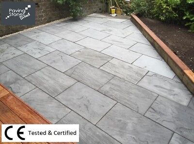Silver Kandla grey sandstone Paving Slabs 900x600 Indian paving patio 3 DAY DEL