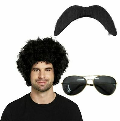 Adults 80s Black Afro Wig Moustache and Sunglasses Fancy Dress Party Accessory