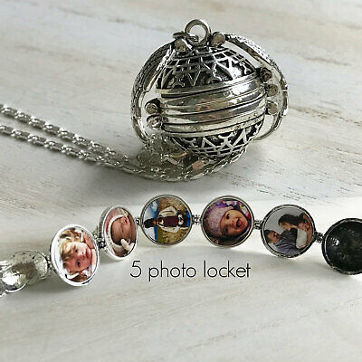 Photo Expanding Locket Necklace Silver Ball Angel Wing Pendant Memorial Gifts