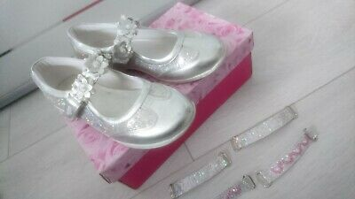 Gorgeous Silver Glitter Lelli Kelly Girls Shoes Ballerina Size 1 Eur 33 Usa 2