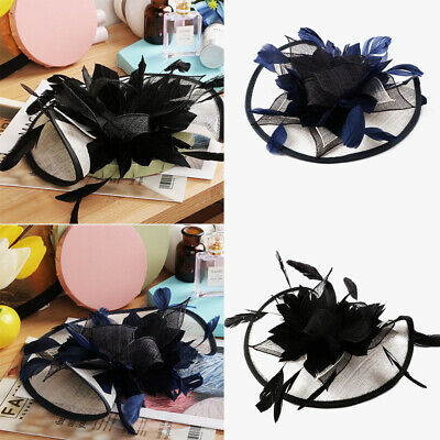 Royal Fascinator Race Ascot Hair Band Sinamay Flower Feather Alice Headband Hat