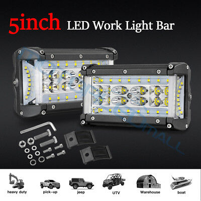 2x 5inch LED Side Shooter Work Driving Light Bar Flood Spot 4Row Offroad Reverse