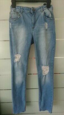 Nice Zara Girl Ripped Lace Skinny Trousers Jeans 13-14 Yrs 164 Cm Ladies Size 6