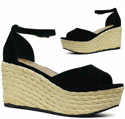 Womens Summer Beach Holiday Wedge Platform Heels Ladies Espadrille Sandals Size