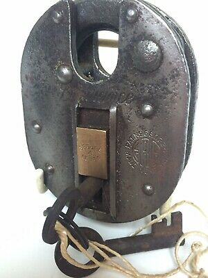 Antique British Heavy Large Hand Made 4 Lever Insurance Padlock With 2 Keys