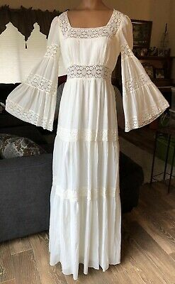 Vintage Off White Bell Sleeve Hippie Crinkle Gauze Lace Boho Tall Wedding Dress