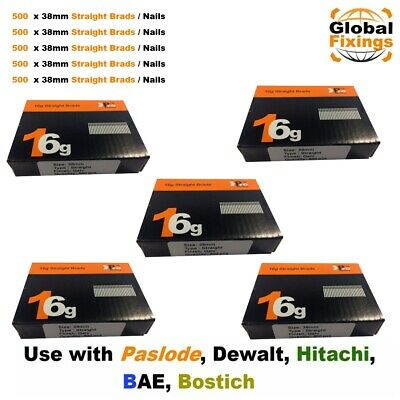 16g Straight 2500 x 38mm Handy Packs - Dewalt, Paslode, Hitachi Nails