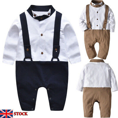 Baby Boy's Gentleman Long Sleeve Romper Outfits Toddler Kids Jumpsuit Clothes SL