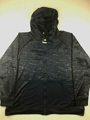 Adidas Mens XL Navy Blue Electric Basketball FZ Hoodie Sweatshirt NWT $75