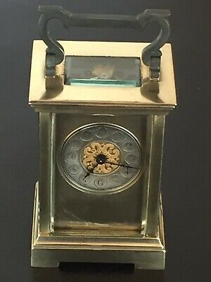 Vintage Of 1930's French Mech Move Key Winding Solid Heavy Brass Carriage Clock