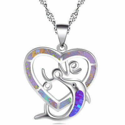 Women's Plated Imitation Opal Gems Silver Heart Love &dolphin Pendent Necklace