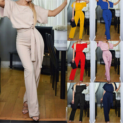 Womens Short Sleeve Office Casual Wide Leg Long Jumpsuit Tied Romper Clubwear