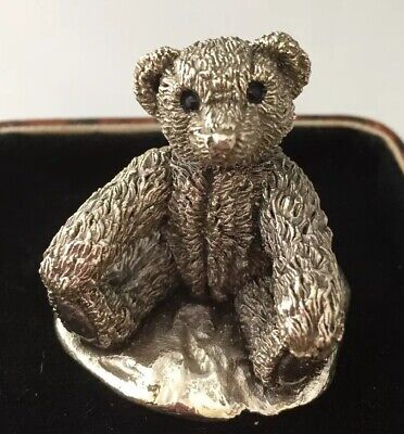 Vintage ornament adorable teddy Bear sterling silver signed Country artist 1994