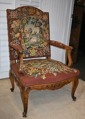 Antique French Baroque Arm Chair, Needlepoint Tapestry