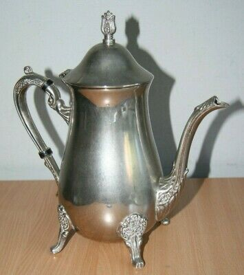 Vintage Silver Plate Decorated Footed Coffee Tea Hot Water Jug