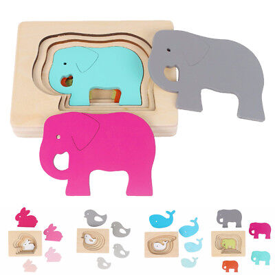 Creative Animal Pattern Wooden Puzzle Multilayer Jigsaw Children Educational Toy