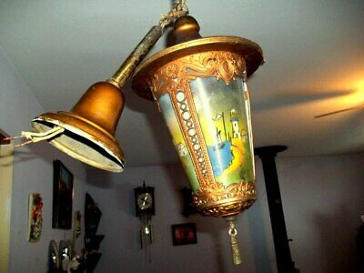 HANGING  Lite Fixture With  Reverse Painted Panels - Antique Hanging Hall Ligtht