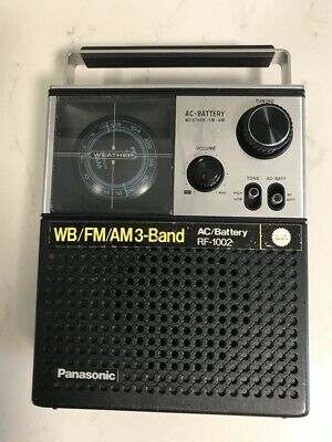 Panasonic FM/AM/Weather Band Receiver AC/Battery Model RF-1002, Excellent.