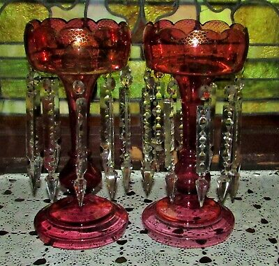 Pair Of Antique Victorian Tall Cranberry Mantle Lustres / Lusters Late 1800'S