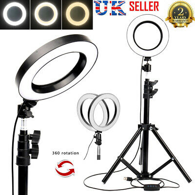 LED Ring Light With Stand Dimmable Phone Video Lamp Tripod Selfie Camera Holder