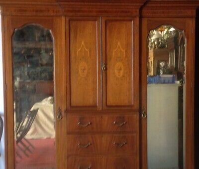 Inlaid mahogany combined wardrobe size 72 inches high 72inches wide by21 deep