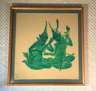 Vintage Framed & Matted Thai Temple Rubbing Two Musicians 22 in. W x 23.5 in. H