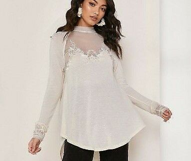 124cad65890 Free People sz M saheli embroidered floral mesh swing tunic ivory *FLAW*  J910