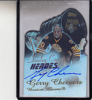"""2001-02 Topps STANLEY Coppa Heroes Gerry Cheevers """" Boston Bruins """" Autografo"""