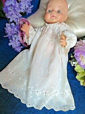 VINTAGE handmade DOLL DRESS  baby gown EMBROIDERED rayon EYELET for 12-14""