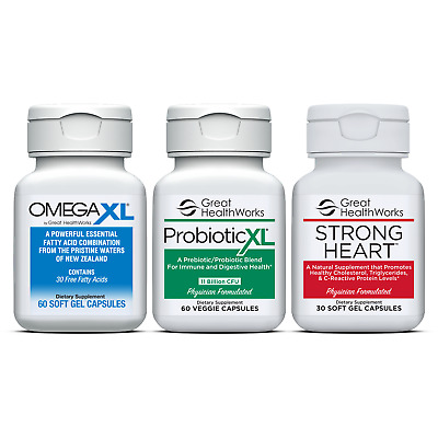 Bundle Pack Omega XL 60 count + Probiotic XL 60 count + Strong Heart 30 count