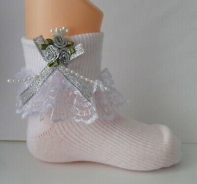 Girls White Frilly Lace Socks Size Lots Of Sizes Silver Rose Cluster