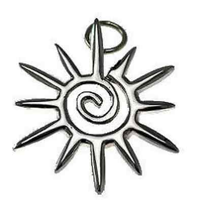 LOOK Celtic Sun Spiral Sterling Silver Pendant Charm STAR