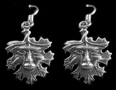 LOOK Celtic God of Nature Green man Sterling Silver Earrings