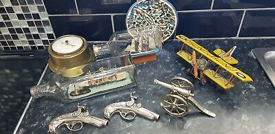 Job Lot Vintage Interesting Items , Tin Plane , Ships In A Bottle , Cannons Ect