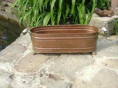 Vintage copper window box /planter/jardiniere delft handles and lion feet