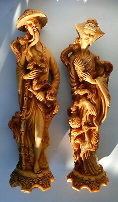 Vintage Pair Of Oriental Resin Figures of a Gentleman & Lady Statues Unusual