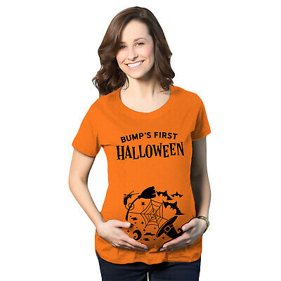 67e53a8ed2da2 Maternity Bumps First Halloween Pregnancy Tshirt Spooky October Tee For  Ladies